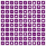 100 electrical engineering icons set grunge purple. 100 electrical engineering icons set in grunge style purple color isolated on white background vector Royalty Free Stock Photos