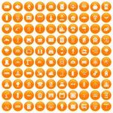 100 electrical engineering icons set orange. 100 electrical engineering icons set in orange circle isolated on white vector illustration stock illustration