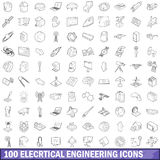 100 electrical engineering icons set outline. 100 electrical engineering icons set in outline style for any design vector illustration Royalty Free Stock Photo