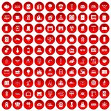 100 electrical engineering icons set red. 100 electrical engineering icons set in red circle isolated on white vector illustration royalty free illustration