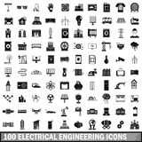 100 electrical engineering icons set, simple style. 100 electrical engineering icons set in simple style for any design vector illustration Royalty Free Stock Photo