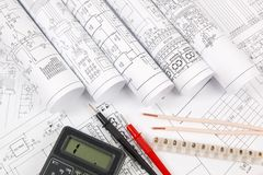 electrical engineering drawings, wire, terminal and digital multimeter royalty free stock photo