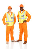 Electrical engineers standing stock images