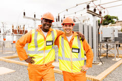 Electrical engineers substation stock photography
