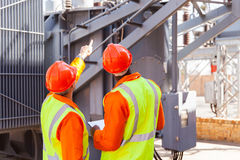 Electrical engineers substation stock images