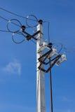 Electrical equipment on a concrete column Royalty Free Stock Photos