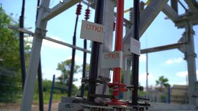 High voltage electrical equipment. Electrical equipment of a high voltage line in a solar power station. Labeling: Enable, Disable stock video