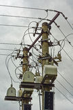 Electrical equipment   high voltage power lines. Stock Photography