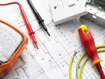 Electrical Equipment On House Plans. Detail Of Electrical Equipment On House Plans Stock Photos