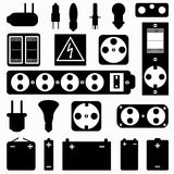 Electrical equipment monochrome collection of symbols Royalty Free Stock Images
