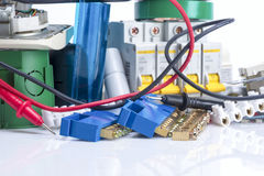Electrical equipment, switches and clamps for wires Royalty Free Stock Image