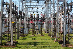 Electrical equipment in switchyard Royalty Free Stock Photos