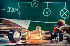 Electrical experience in physics laboratory Royalty Free Stock Photo