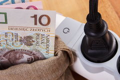 Electrical extension with connected plug and polish currency money, energy costs Stock Photos
