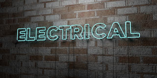 ELECTRICAL - Glowing Neon Sign on stonework wall - 3D rendered royalty free stock illustration Royalty Free Stock Images