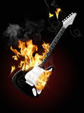 Electrical guitar 3. Illustration of an electrical guitar burning Royalty Free Stock Images