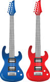 Electrical guitars. Red and blue electrical guitars.Vector illustration Stock Photo