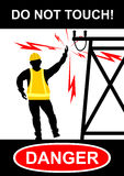 Electrical hazards. Electrical and high voltage hazards. Flat vector stock illustration