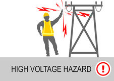 Electrical hazards. Electrical and high voltage hazards. Flat vector vector illustration