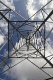 Electrical high tension tower in Mallorca. Workers install electrical high tension towers in Mallorca. The construction of the towers produces a large impoct in Royalty Free Stock Images