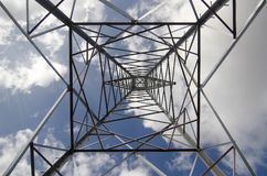 Electrical high tension tower in Mallorca. Workers install electrical high tension towers in Mallorca. The construction of the towers produces a large impoct in Stock Image
