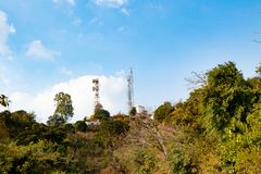 Mobile tower installed in hill area in top of the place stock image