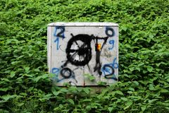 Electrical high voltage outdoor grey box covered with graffiti and completely surrounded with dense plants. Electrical high voltage outdoor grey box covered with royalty free stock photo