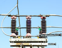 Electrical high voltage substation stock images