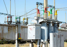 Electrical high voltage substation stock photography