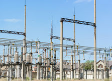 Electrical high voltage substation stock image