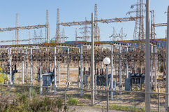 Electrical high voltage substation Royalty Free Stock Photography