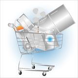 Electrical household appliances on the cart Royalty Free Stock Photos