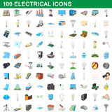 100 electrical icons set, cartoon style. 100 electrical icons set in cartoon style for any design vector illustration Royalty Free Stock Photo