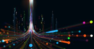 Free Electrical Impulse, Binary Code. Futuristic Wave. Neon Streaming. Data Stream 3D Illustration Royalty Free Stock Image - 217085666