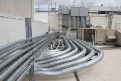 Electrical installation piping Stock Image