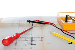Electrical instrument and screwdriver Stock Images