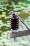 Electrical insulator. Closeup electrical insulator on the electricity post Royalty Free Stock Photography