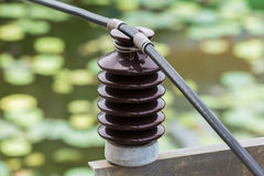 Electrical insulator. Closeup electrical insulator on the electricity post Royalty Free Stock Photos