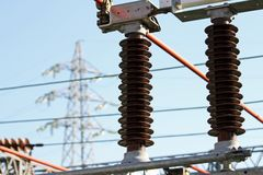 Electrical insulators, a high-voltage power station Stock Photography