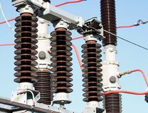 Electrical insulators in a high-voltage power station Stock Photo