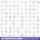 100 electrical items icons set, outline style. 100 electrical items icons set in outline style for any design vector illustration Stock Illustration