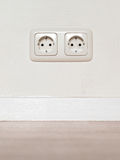 Electrical jack white plastic socket Stock Image