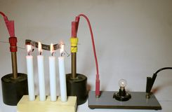 Electrical temperature coefficient in iron, warm version. An electrical lamp is supplied with current trough a wound-up iron wire as a serial resistor. As the stock photography