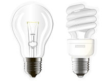 Electrical lamps. Two electric bulbs, incandescent, fluorescent and energy-saving Stock Photography