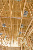 Electrical light fixtures in new construction Royalty Free Stock Photo