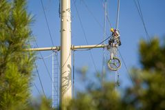 Electrical line maintenance Stock Image