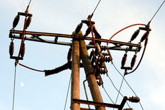 Electrical line. Electrical overhead line, for the supply of electricity Royalty Free Stock Photos