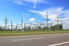 electrical lines power sky 免版税图库摄影
