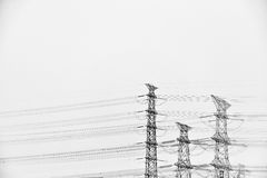 Electrical lines in sky Stock Photography