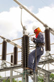 Electrical maintenance work on electrical high voltage equipment. KWAE NOI DAM, PHITSANULOK,THAILAND -JULY-28-2016: Electrical maintenance work on electrical Stock Photo